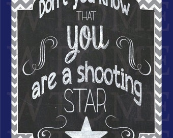 "Nursery Design, Chalk Print, ""Shooting Star"", Children Decor,  8 x 10 Nursery Print"