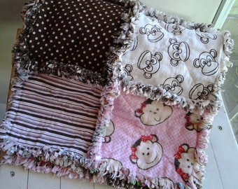 Baby Rag Quilt with Monkeys, Pink and Brown Baby Girl Rag Quilt, Girls Pink Monkey Stroller Quilt, Toddler Rag Quilt