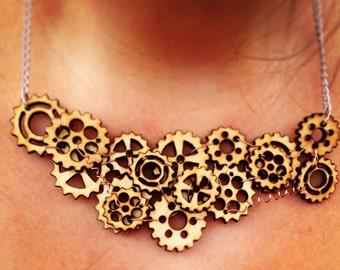 Laser Cut Wood Gear Steampunk Necklace