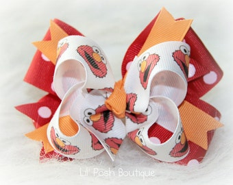 Girls Elmo Inspired Hairbow