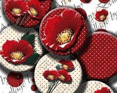 """Digital collage sheets""""Poppy Love """"Round...""""Circles:30,25,20,18,12,mm"""