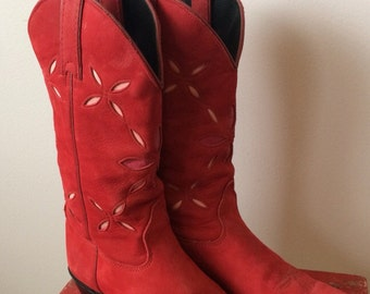Red Suede Ladies Cowboy Boots Size 6 1/2