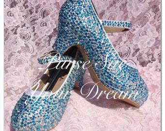 Crystal Rhinestone Heels - Wedding/Pageant/Prom Heels - Something Blue - Toddler/Youth/Adult Sizes - Swarovski Heels