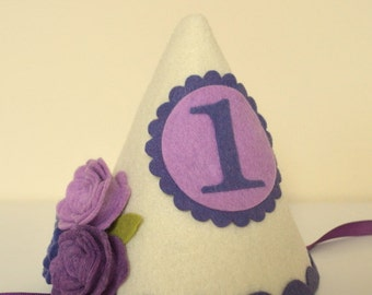 Shabby Chic Felt Birthday Hat in Purple and Ivory, First Birthday, Personalized