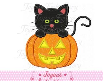 Instant Download Halloween Cat With Pumpkin Applique Machine Embroidery Design NO:1417