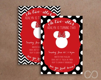 Custom Minnie Mouse Second Birthday Party  Invitations Digital File