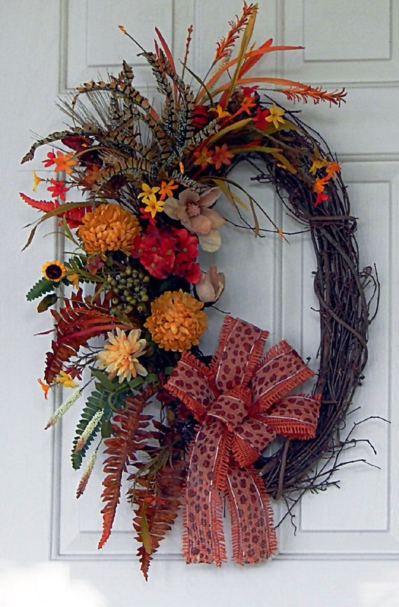 Fall Feather Oval Grapevine Wreath With Designer Burlap