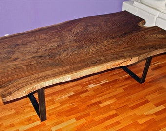Live edge Walnnut dining table, reclaimed, salvaged, Claro walnut
