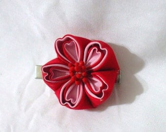 Pink and red cherry blossom hair clip - kanzashi