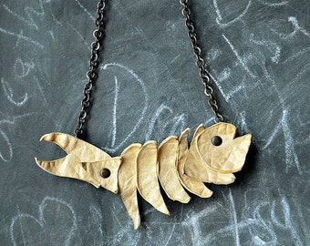 Handmade Beige Leather Fish Necklace on Adjustable Chain, Leather Jewelry, Leather Necklace,Spring Trend