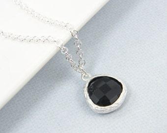 Black Pendant Necklace Simple Black Necklace Silver Black Charm Necklace Black Teardrop Necklace Chain Everyday Black Modern Necklace |BZ1-2