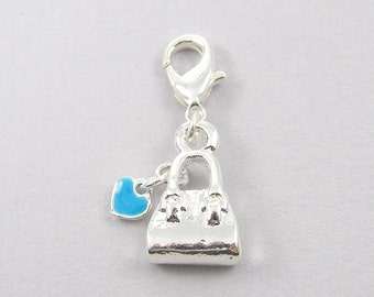 Silver Purse Charm - Turquoise Heart Detachable Pendant with Clasp S12-10