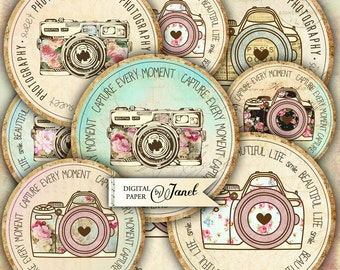 Beautiful Life - 2,5 inch circles - set of 12 - digital collage sheet - pocket mirrors, tags, scrapbooking, cupcake toppers
