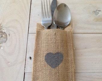 25 x Grey Heart Hessian/Burlap Cutlery Holders