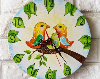 Birds Wall Clock, Modern wall clock with numbers, White wall clock, wood clock, white home decor, kids gift, wedding gift, for Office.