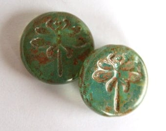2 Dragonfly Czech Picasso Translucent Round Beads