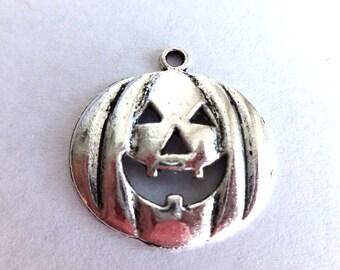 6 Silver Jack-O-Lantern Pumpkin Charms/Pendants