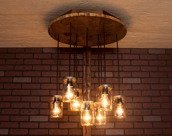 Mason Jar Chandelier With Reclaimed Wood and 10 Pendants. R-26C-CMJ-10