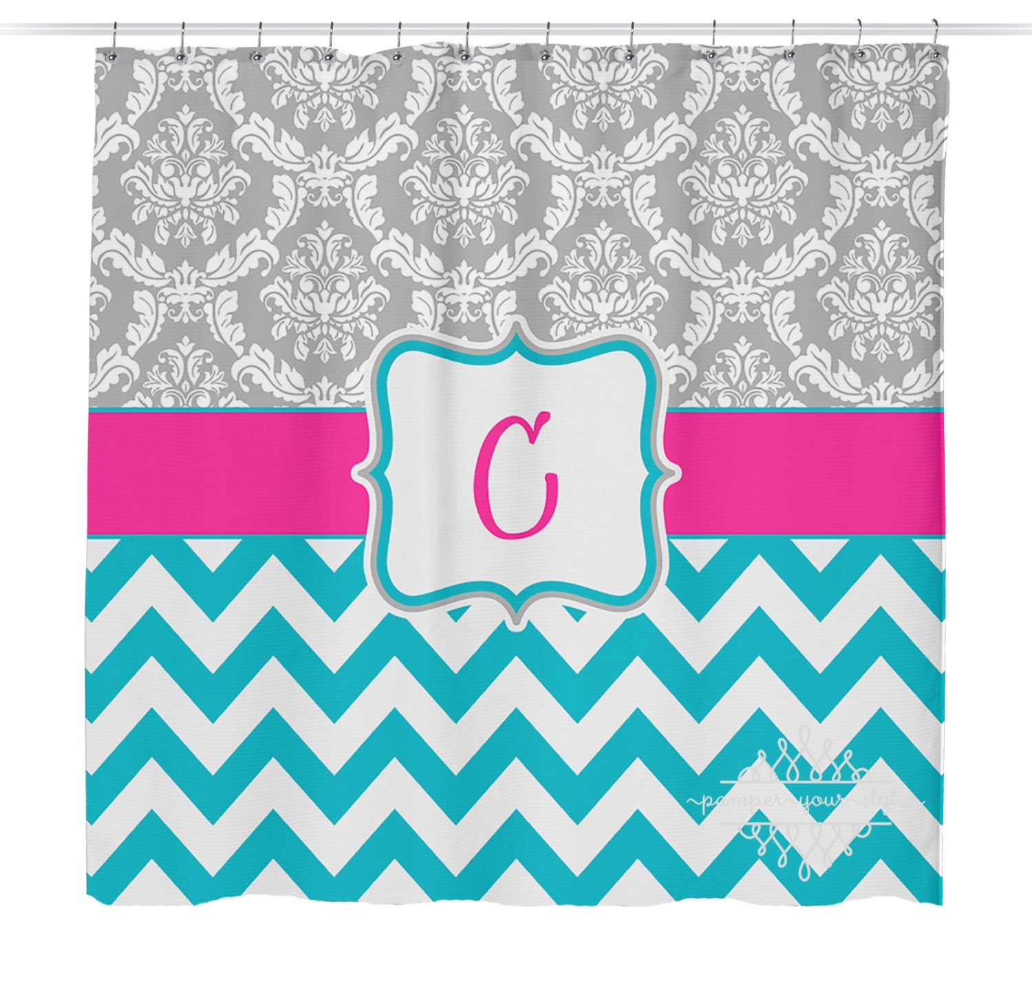 Gray Pink And Turquoise Shower Curtain Damask And Chevron