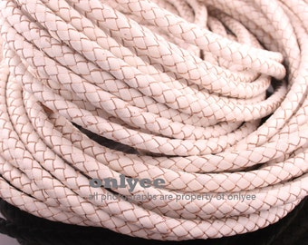 1/2yd(Approx.2Bracelets) -5.5mm Braid Leather Cord,Braid Leather straps For jewelry findings,Europe Bracelets-Ivory(N128C)