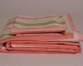 Sale - Toddler bedding - Toddler duvet cover and sham set - Pink and Green Stripes - Toddler bedding, Girl toddler bedding, Pink bedding