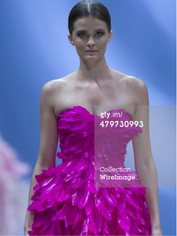 "IRINA SHABAYEVA COUTURE ""Bird of Paradise"" chiffon/feather gown."