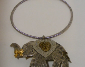 Made in India Metal Elephant Slide with Silver-tone and Gold-tone Collar Necklace