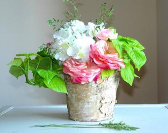 birch bark vases, birchwood, wood boxes, wedding flower pot, centerpieces, planter woodwork, barn rustic, shabby chic wedding wood boxes