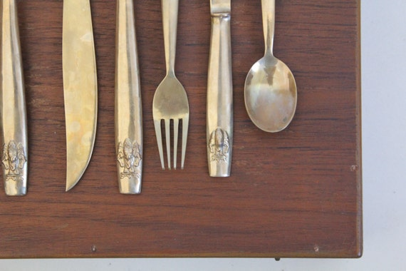 Vintage Bronze Dessert Flatware Siam Thailand Factory Cutlery Set for 8 Christmas Table Decor