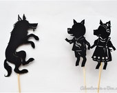 Three Little Pigs Shadow Puppet Set: Four Puppets