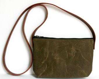 Brown Waxed Canvas Crossbody Bag