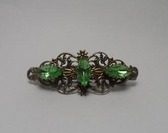 Filigree metal barrette Peridot green clip rhinestone green hair clip barrette victorian barrette art deco fancy hair cliip wedding bridal
