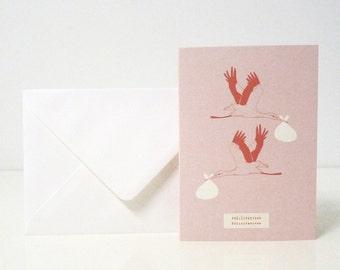 "1 ""Félicitations"" pink card - 1 carte ""Félicitations"" rose"