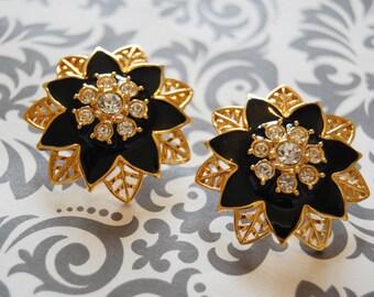 Vintage HAUTE Couture Goldtone Black Enamel Leaf Designed Earrings