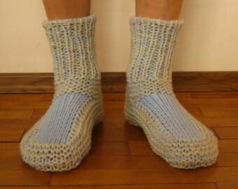 Men's Knitted Wool Slipper Booties // Wool socks men