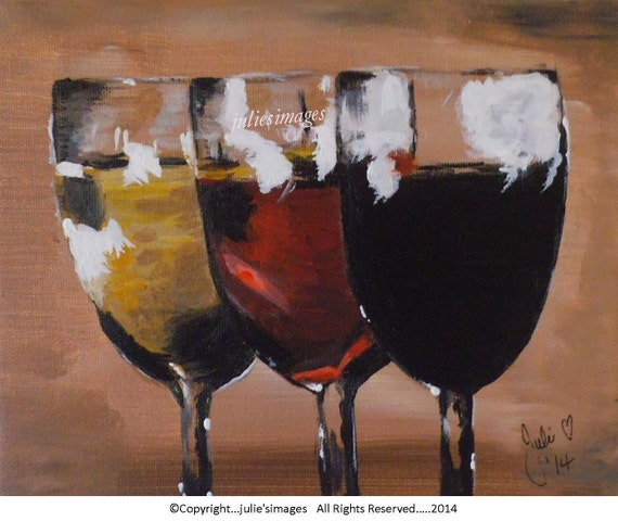 Items similar to wine time original acrylic painting for Acrylic paint on wine glasses