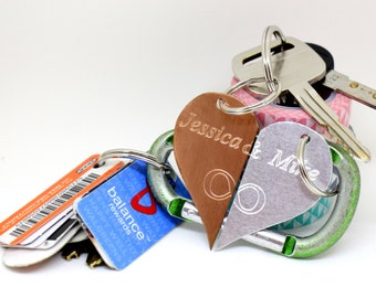 Personalized Keychain - Engraved Heart Keychains - Custom Couple's Gift with Names-  Boyfriend Gift, Husband gift,  Husband