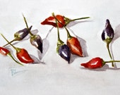 "Amazing Chili Pepper Still Life - Water color - 9"" x 11"" - RTStyles"