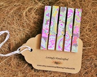 Boho Print Clothespins, Magnet Option,