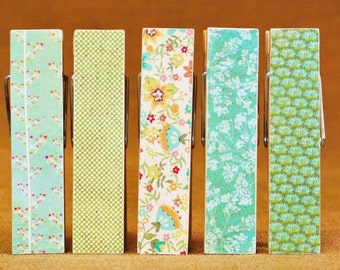 Giant Clothespins, Table Numbers, Blue Green Rustic,  Set of 5 Giant Clothespegs