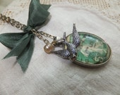 Vintage French Postage Stamp Glassed Charm Old Green Antique Silver Old Rayon Ribbon Silver Bird 1900 Glass Pearl Paris Pendant Romantic