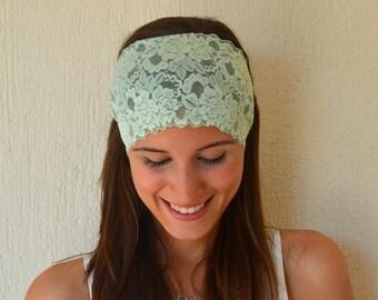 BS-5707- Mint green lace headband stretchy hair band-Women's accessory trendy hair bands-Boho headband-Gipsy headband-Bohemian-Yoga headband