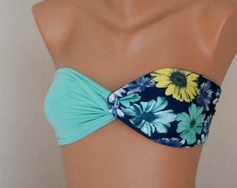 PADDED...Mint green and floral bandeau with removable neckstrap-Bathing suit-Swimwear-Swimsuit-Bikini top-Brazilian bikini-XS-S-M-L-XL