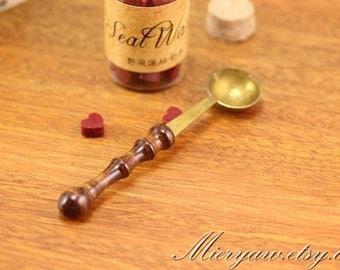 Wood Handle Spoon - Wax Spoon - Antique Spoon - wax seal stamp