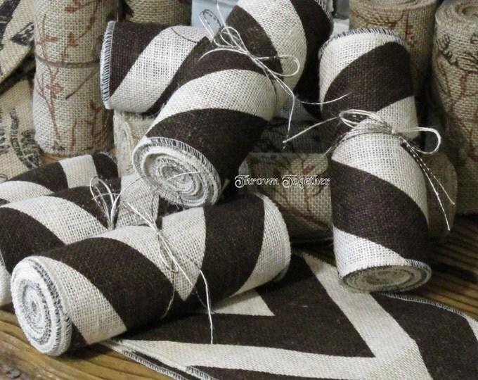 Brown & Ivory Chevron Burlap Ribbon -6inch wide Chevron Ribbon, Craft Supply, Burlap Wreath Supply