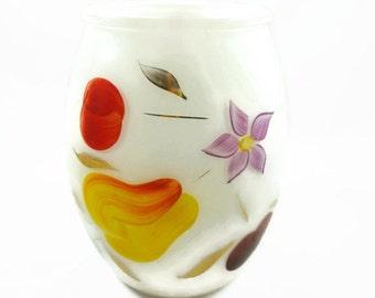 Vintage Bartlett Collins Glass White Cookie Jar Canister 1950s NO Lid