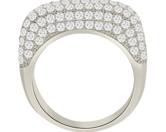 Sterling Silver Square Micro-Pave CZ Ring - AZDYR-782DZ