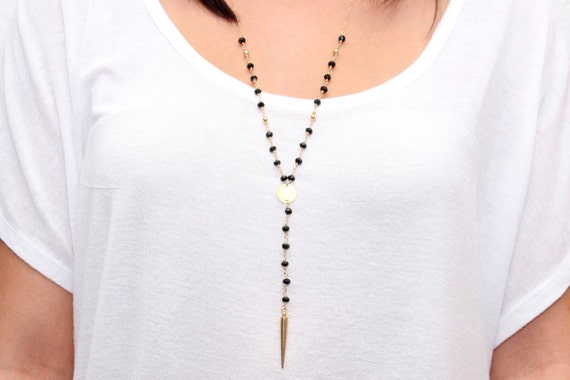 Black Spinel  // Gold Spike Necklace // Rosary Style // 14k Gold Chain