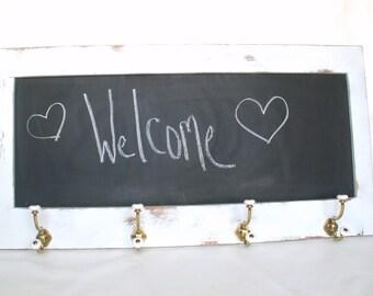 Chalkboard Entryway hooks with chalkboard rustic shabby chic wall hook nursery kids room kitchen