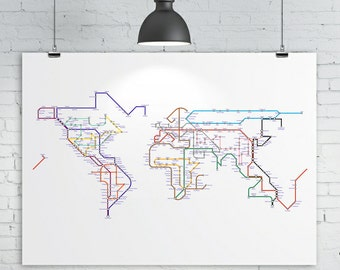 World map poster etsy world map poster a subway map tube map metro map of the world sciox Images